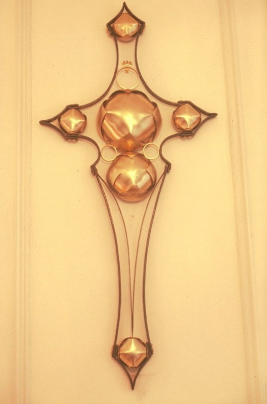 "Cross of Forged Iron & Brass. 2006. 39"" x 18"" x 5"". Cathedral of Saint Philip."