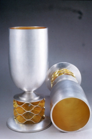 "Honeycomb Kiddush Cups. 1991. Sterling, vermeil. 6"" x 2"". Commissioned by M/M Howard"